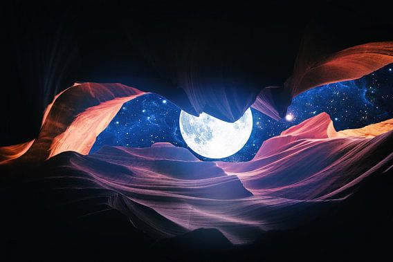Grand Canyon met Space & Full Moon Collage I