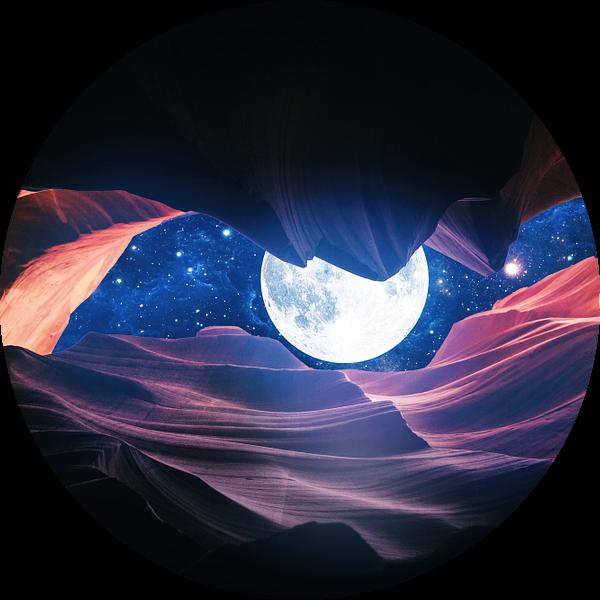 Grand Canyon met Space & Full Moon Collage I van Art Design Works