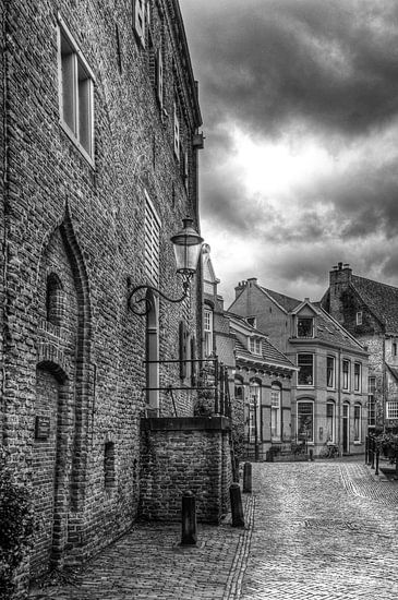 Muurhuizen historisch Amersfoort in zwartwit