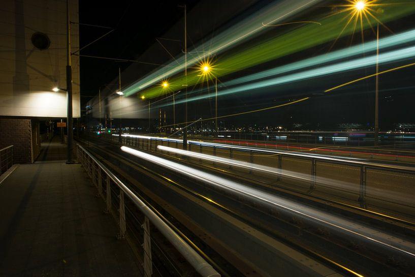 Amsterdam by Night - Moving Tram van Dennis van Berkel