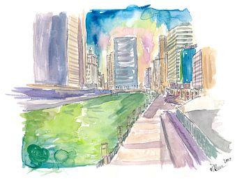 Chicago Illinois Grüner Fluss Saint Patricks Day von Markus Bleichner