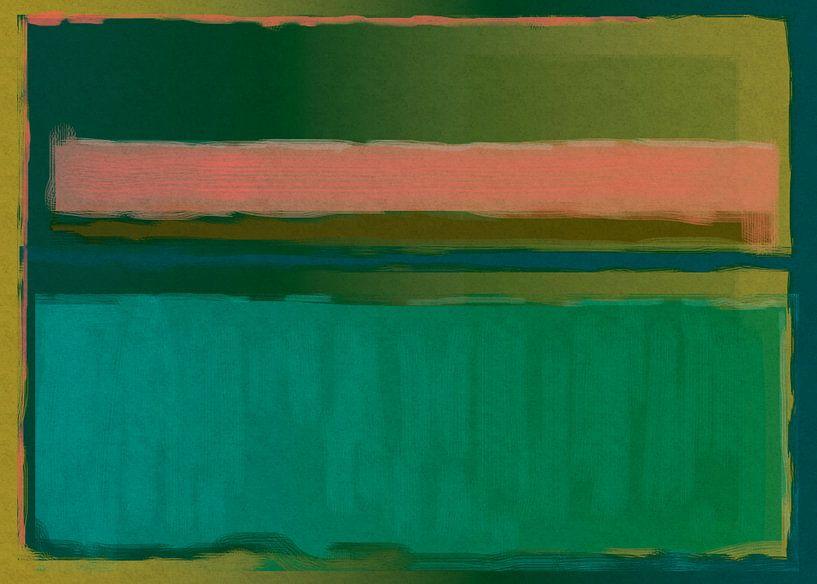 Abstract schilderij groen en oranje van Rietje Bulthuis