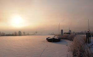 Warme gloed op een koude winterochtend van