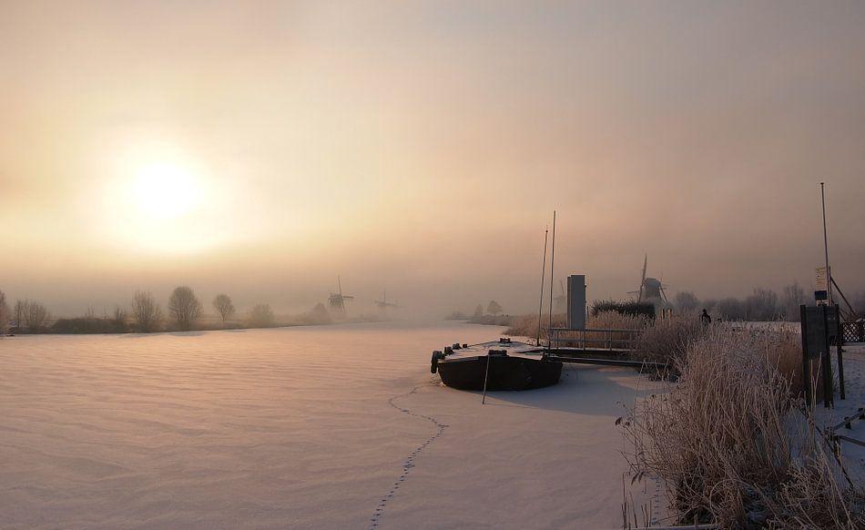 Warme gloed op een koude winterochtend