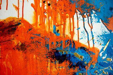 Abstract oranje blauw schilderij kunst van Coco Korse
