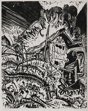 Berghaus mit Gewitterwolke (Alphütte bei Gewitter), ERNST LUDWIG KIRCHNER, 1917 von Atelier Liesjes
