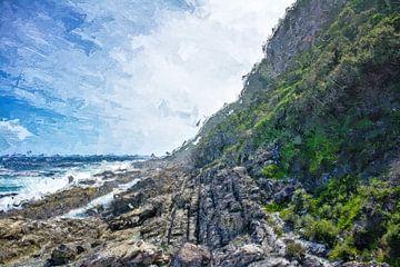 Küstenlandschaft - Oelspachtel Look | Abstrakte digitale Malerei | MeinhardtART