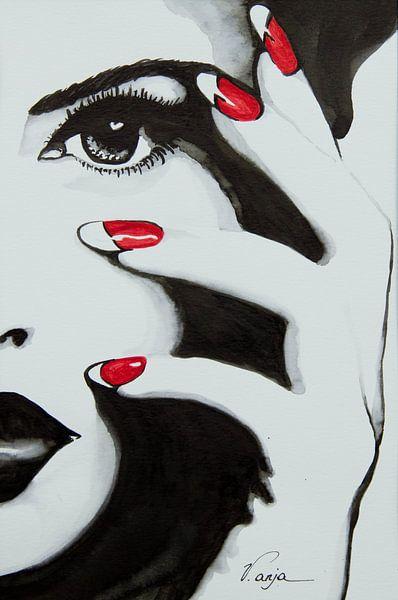 Red nails lady van anja verbruggen