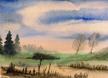 Herfst Landschap / Herfst / Landschap / Natuur - Aquarel geschilderd door VK (Veit Kessler)