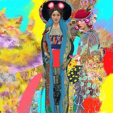 Vrolijke kleuren Gustav Klimt portretten van Nicole Habets