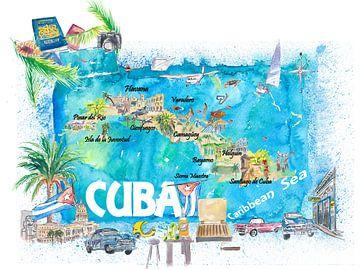 Cuba Antillen Geïllustreerde Reiskaart met Wegen en Highlights van Markus Bleichner