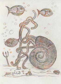 Schelp op de bodem van de zee