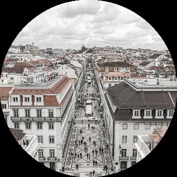 Rua Augusta in Lissabon van MS Fotografie   Marc van der Stelt