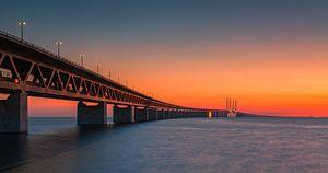 Panorama eines Sonnenuntergangs an der Öresundbrücke, Malmö, Schweden
