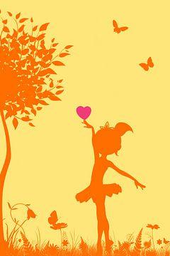 Meisje met hart - silhouet van Marion Tenbergen
