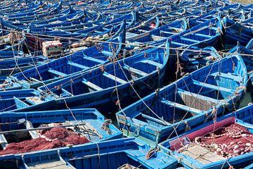 Bootjes in haven Essaouira, Marokko van Johan van Veelen
