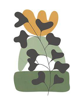 Minimalistisch landschap met een plant en een stapel vormen van Tanja Udelhofen
