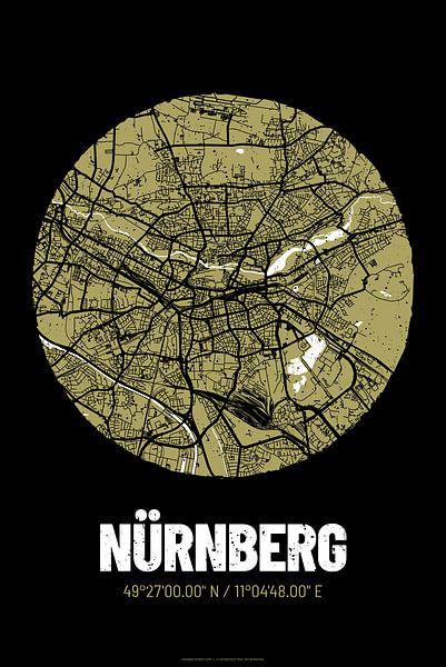 Nürnberg – City Map Design Stadtplan Karte (Grunge) von ViaMapia