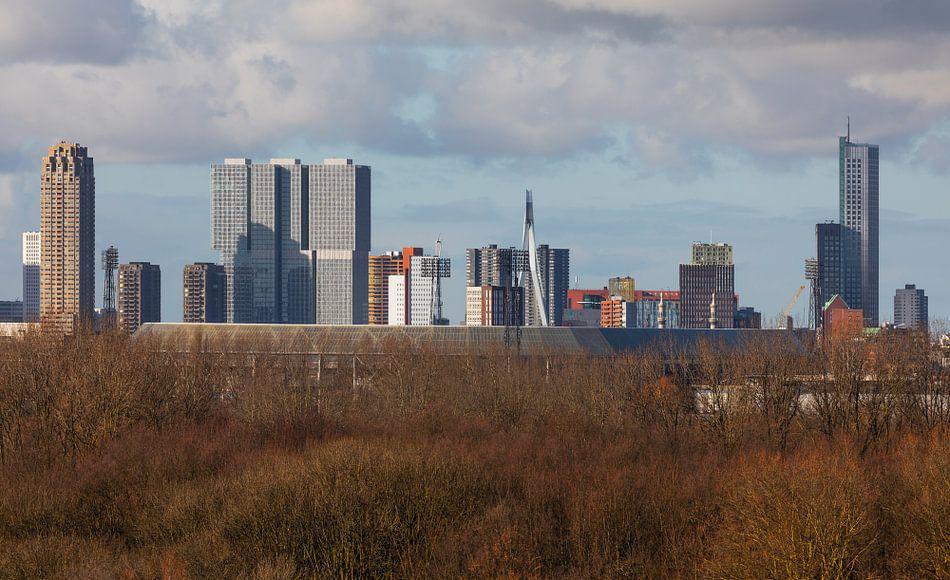 Het Feyenoord Stadion De Kuip in Rotterdam met de Kop van Zuid op de achtergrond van MS Fotografie