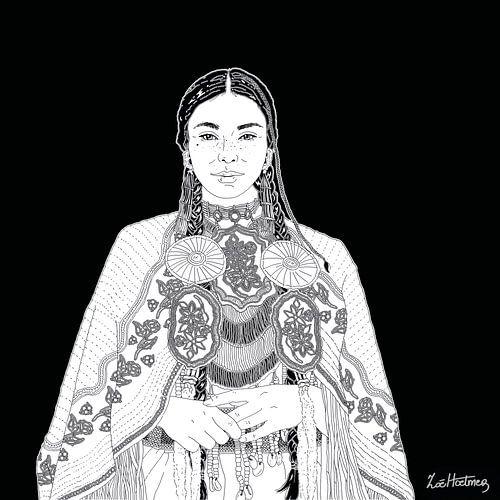 Portret van een  inheemse vrouw