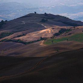 De heuvels in Toscane met mooie warm kleuren sur Steven Dijkshoorn