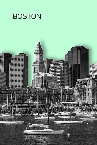 BOSTON Skyline | Graphic Art | mint green