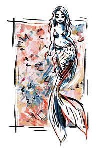 Bunter Meerjungfrauen-Aufdruck von Wanddecoratie
