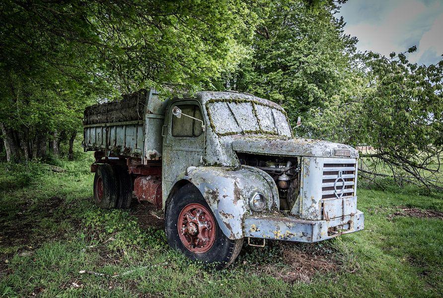 Oude truck in het bos van Inge van den Brande