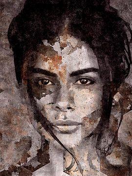 Beautiful Brown - Portrait - Woman van Wil Vervenne
