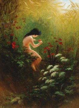 Mädchen mit einer Blume, Karl Wilhelm Diefenbach - 1898 von Atelier Liesjes
