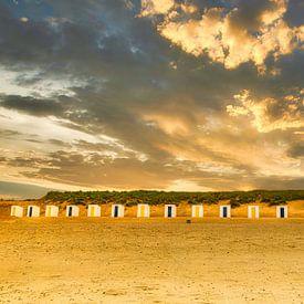 Chalets de plage sur la côte zélandaise sur René van der Horst