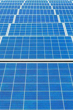 Symmetrisch veld met horizontale rijen van veel nieuwe blauwe zonnecollectoren van Ben Schonewille
