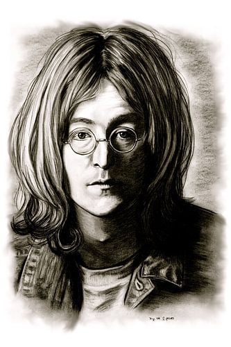 John Lennon In Black And White van