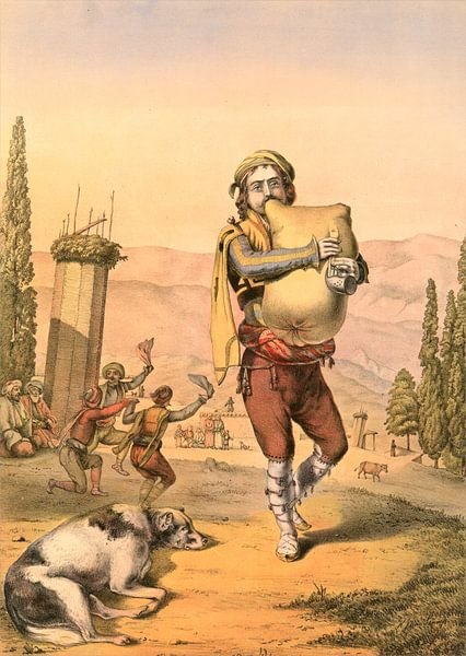 Turkije Turkey Türkiye man uit Armenie 1862, doedelzak speler van Liszt Collection