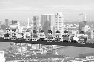 Lunch atop a skyscraper Lego edition - Rotterdam