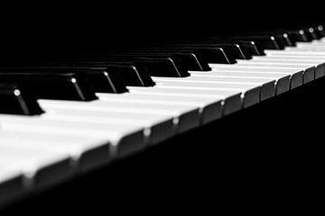 Klaviertastatur in minimalem Schwarz und Weiß Diagonale von Andreea Eva Herczegh