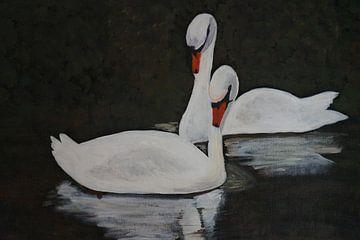 Schwanenpaar II van Babetts Bildergalerie