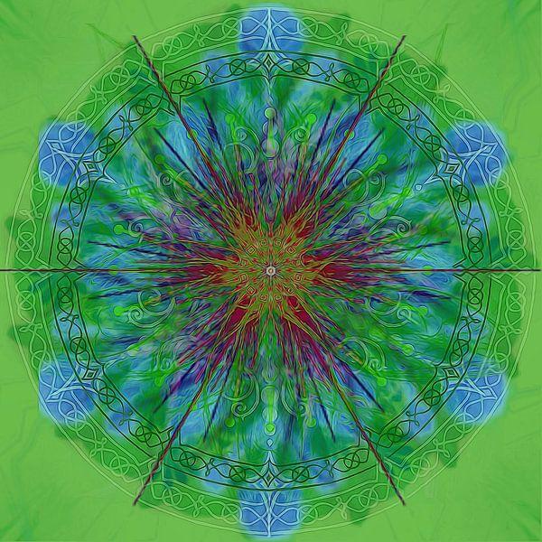 Caleidoscoop, groen met blauw van Rietje Bulthuis