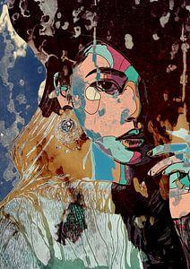 Paperdreams | vrouwen gezicht in mixed media, lijntekening met collage effect