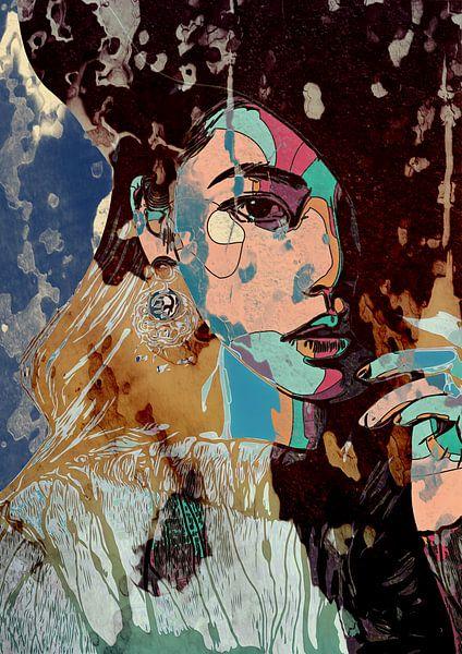 Paperdreams | vrouwen gezicht in mixed media, lijntekening met collage effect van The Art Kroep