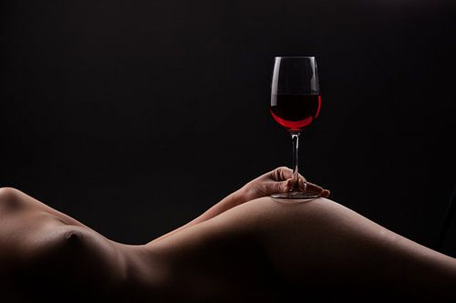 Red wine on a woman body van