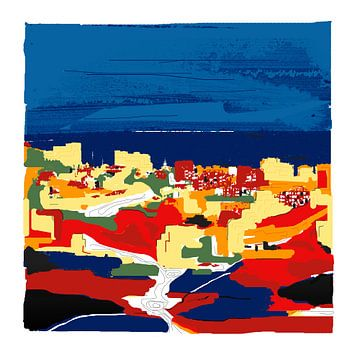Zeefdruk art-kunst in kleur van Mijas in Spanje van Marianne van der Zee