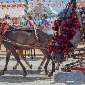 Feria paarden, close up. De Aprilfeesten, Feria de abril de Sevilla van Tjeerd Kruse