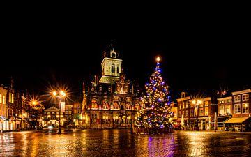 Heiligabend auf dem großen Markt in Delft von Arthur Scheltes