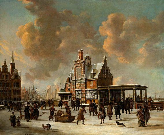 Jan Abrahamsz. van Beerstraten. Het Paalhuis en de Nieuwe Brug gezien vanaf het IJ
