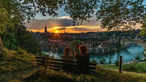 Zonsondergang boven Bern van