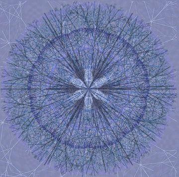 Grafische mandala, blauw van Rietje Bulthuis