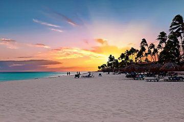 Strand Druif op Aruba met zonsondergang van Nisangha Masselink