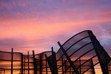 Zonsondergang met het Windscherm.  von