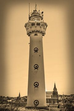 Phare de la plage d'Egmond aan Zee Sepia sur Hendrik-Jan Kornelis